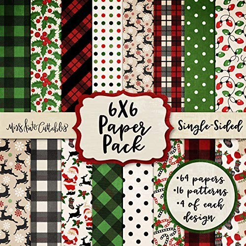 "6X6 Pattern Paper Pack - Merry Christmas - Card Making Scrapbook Specialty Paper Single-Sided 6""x6"" Collection Includes 64 Sheets - by Miss Kate Cuttables"