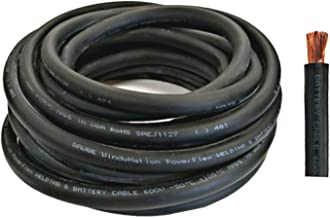 WNI 2 Gauge 20 Feet Black 2 AWG Ultra Flexible Welding Battery Copper Cable Wire - Made In The USA - Car, Inverter, RV, Solar