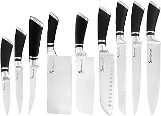 9pcs couteaux en acier inoxydable Ensemble poignée antidérapante chef Hacher désosser Cleaver Couteaux de cuisine Outils d...