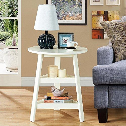 FEI étagères Table ronde en bois massif Table basse ronde simple à côté de la table à café Corner 56 * 67cm (Couleur : Milky)