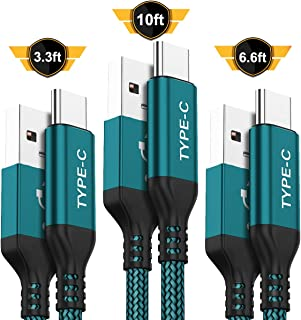 USB Type C Cable,AkoaDa 3-Pack (10ft+6.6ft+3.3ft) USB A to USB-C Fast Charger Nylon Braided Cord Compatible with Samsung Galaxy Note 9 8 S8 S9 S10 10 Plus,LG V50 V40 G8 G7 Thinq,Moto Z Z3,Swit (GREEN)
