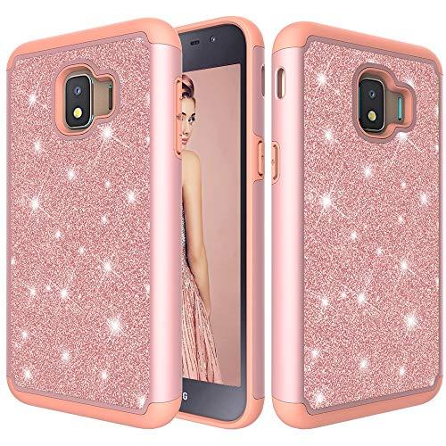GBHGBH ES Glitter Powder Contrast Skin Funda Protectora de Silicona + PC a Prueba de Golpes for Compatible con Galaxy J2 Core 2018 (Color : Rose Gold)