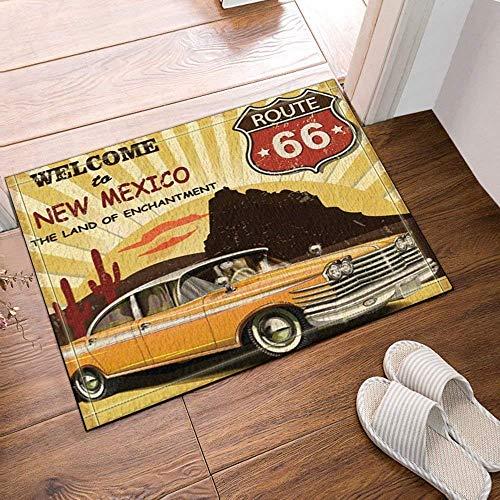 lovedomi Route 66 Decor Car Weclome to New Mexico baño Alfombrilla Antideslizante Entradas Piso Alfombrilla Puerta Delantera Interior Alfombra baño para niños 16x24 Pulgadas Accesorios baño