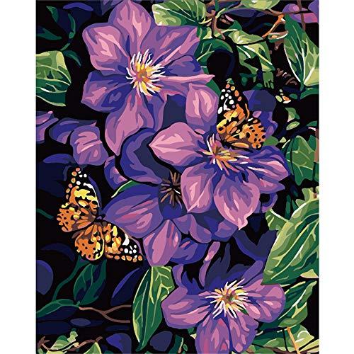 JPTYJ DIY Malen nach Zahlen für Erwachsene, Malen nach Zahlen Kits auf Leinwand DIY Ölgemälde für Kinder Anfänger Purple flowers and butterflies on flowers-50X60(WXH)