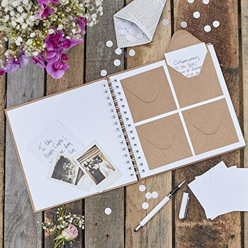 Ginger Ray Libro de visitas de boda de Kraft natural, 80 sobres rústico, color beige