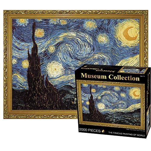 MEDOYOH Puzzle Notte Stellata di Van Gogh 2000 Pezzi per Adulti, 70x100CM Puzzle Arte Museum Collection, 2mm Puzzle di Cartone, Puzzle di Famiglia Puzzle Sfida Anti Stress per Adulti Bambini 14+