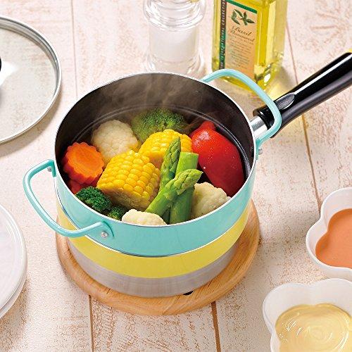 和平フレイズ重ね鍋フライパン片手鍋蒸し鍋16cm3点セットカラフルスマイルIH対応ふっ素樹脂加工CM-9631