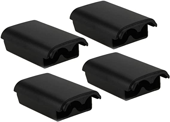Hukado 4 Pack Black Battery Cover Shell Case Replacement Compatible with Xbox 360 Wireless Controller