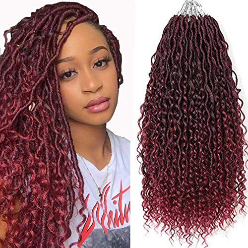 "Curly Faux Locs Crochet Hair Red New Goddess Locs Crochet Hair 14 Inch River Locs Crochet Hair Pre Looped 5 Packs Two Tone Black/Burgundy Boho Hippie Locs Crochet Braids With Curly Ends Short Crochet Braid Hair For Black Women(14"",T1B/530#)"
