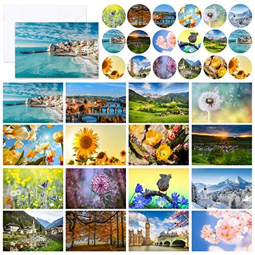 Paquete de 32 tarjetas postales de paisaje, tarjetas postales de flores en blanco amigables para la familia, amigos, amantes, con sobres y pegatinas reciclados blancos