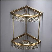 Bathroom Shelves Copper Shower Corner Shelf Wall Mounted Punch Installation Triangular Caddies Basket for Kitchen 2 Tiers ...