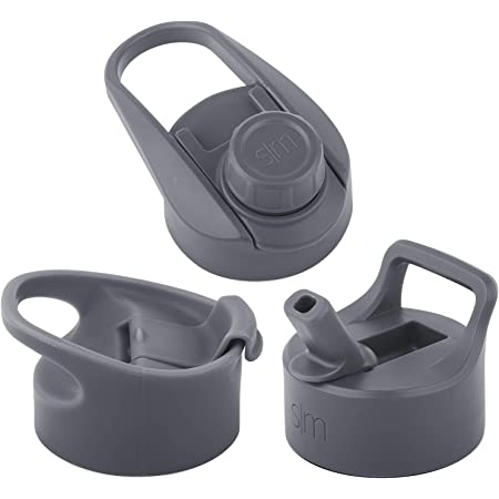 Simple Modern Wide Mouth Lid Leak Proof Straw Chug Handle Flip Fits Summit Water Bottles and Hydro Flask, 3 Bundle, Slate Gray