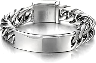 Masculine Curb Chain ID Identificaiton Bracelet for Men Stainless Steel High Polished