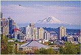 YYTOOF HD Seattle Washington - Planes Buildings MT Rainier at Sunset 9028844 (¡Rompecabezas Premium de 500 Piezas de 52*38 cm Hecho en EE. UU.!)