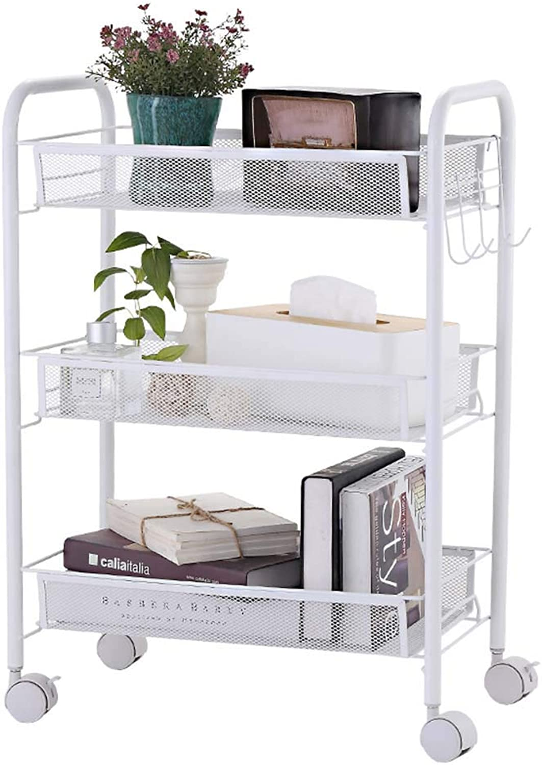 XLong-Home Trolley Rack Carbon Steel Three-Tier Storage Rack Kitchen Storage Rack Basket Trolley Removable Trolley Rack