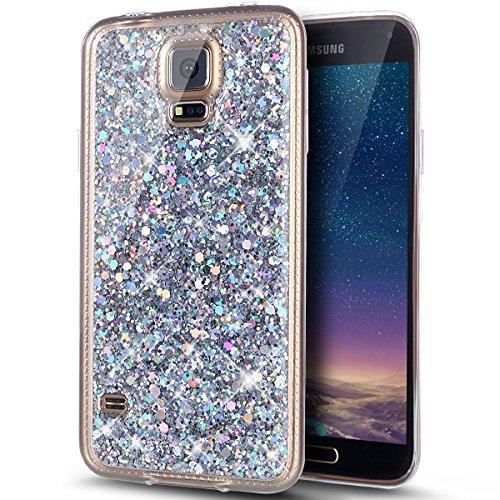 Kompatibel mit Galaxy S5 Hülle,Galaxy S5 Neo Hülle,Glänzend Bling Glitzer Diamant TPU Silikon Handy Hülle Tasche Silikon Case Durchsichtig Handyhülle Case Cover Schutzhülle für Galaxy S5/S5 Neo,Silber