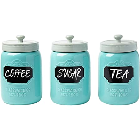 Amazon Com Mason Jar Ceramic Canister Set For Kitchen Set Of 3 Decorative Storage Containers With Air Tight Lids For Coffee Sugar More Aqua Blue Storage W Reusable Writable Surface 12 85oz Canister