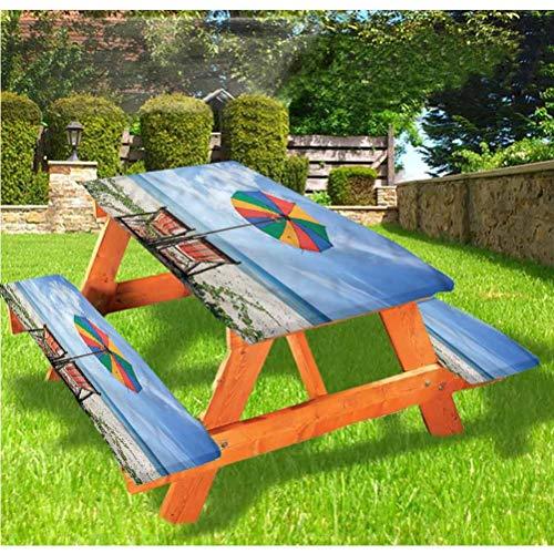 LEWIS FRANKLIN - Cortina de ducha para mesa de picnic y bancos, colorido paraguas sillas de borde elástico, 28 x 172 pulgadas, juego de 3 piezas para viajes, Navidad, picnic, fiestas al aire libre