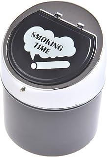 Nomadic Trader Stylish Zinc Alloy Covered Ashtray Cup with Smoking Time Wording, Black/Polished Metal, Mod. 982BC-01 (US)