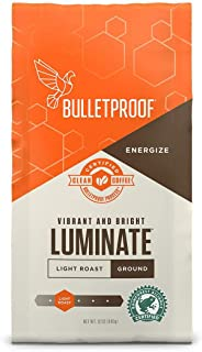 Bulletproof Luminate Ground Coffee, Premium Light Roast Gourmet Organic Beans, Rainforest Alliance Certified, Perfect for Keto Diet, Upgraded Clean Coffee (12 Ounces).
