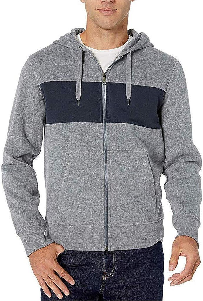 Miskay Men's Long Sleeve Hoodie Sport Patchwork Zipper Hooded Pullover Sweatshirt Jacket Outwear with Pockets