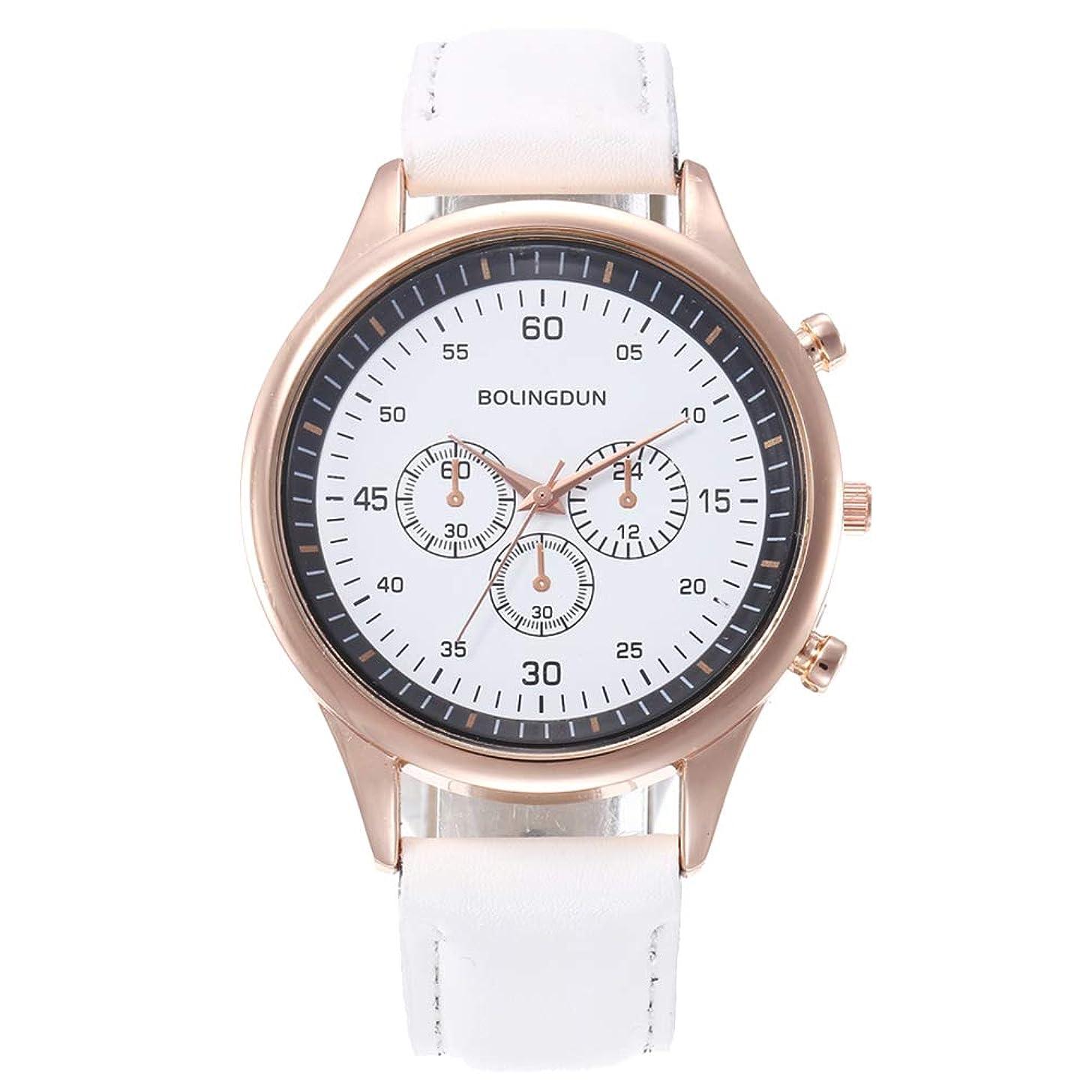 lightclub Business Men Sub-dial Decor Round Dial Faux Leather Band Quartz Wrist Watch for Women Men White
