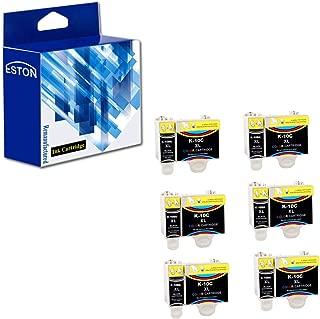 ESTON 12 Pack Compatible Replacement for Kodak 10XL 10B Black and 10C Colour Combo Pack Ink Cartridge Fit ESP 3250 5250 6150 7250