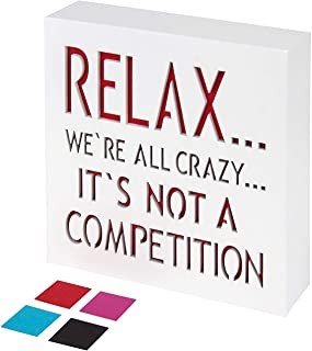 KAUZA Relax We're All Crazy Wood Plaque with Inspiring Quotes | Wall & Tabletop..