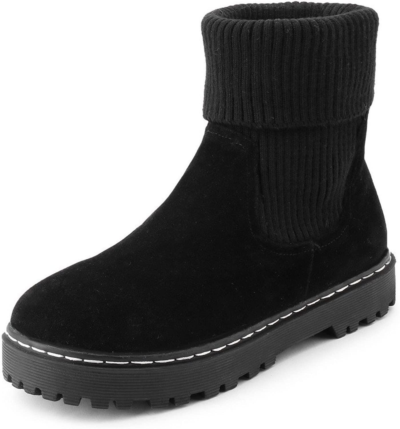WeenFashion Women's Frosted Closed Round Toe Solid Low-Top Low-Heels Boots