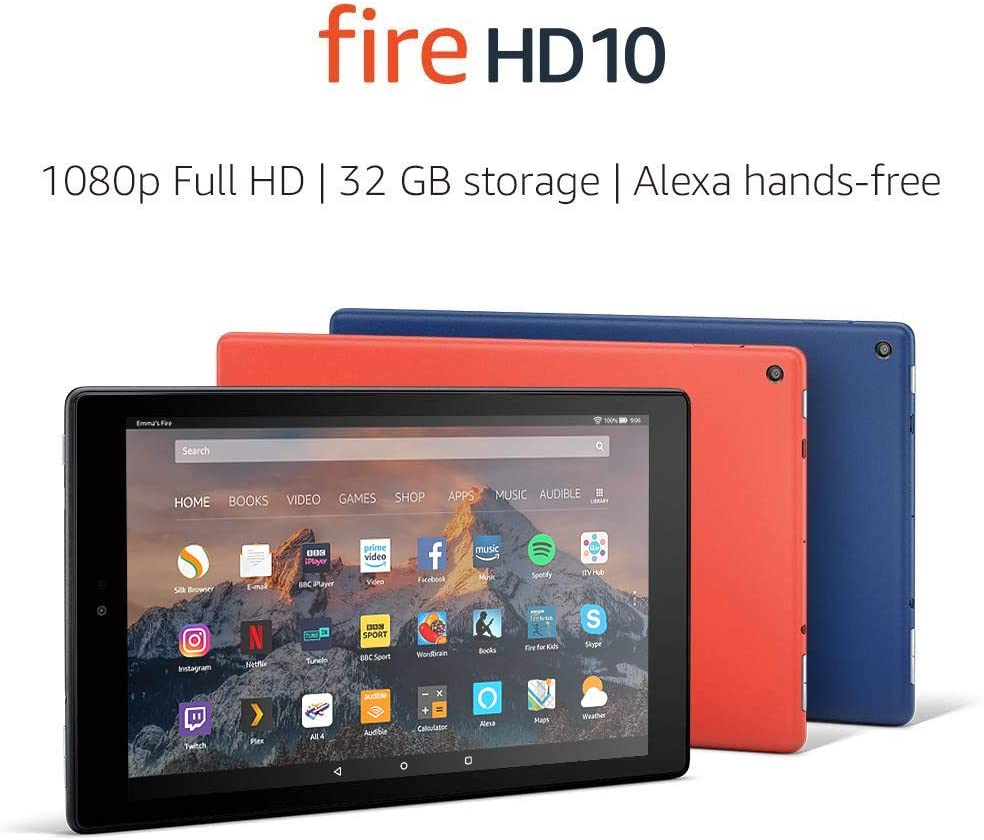 Certified Refurbished Fire HD 10 Tablet, 1080p Full HD Display, 32 GB, Black – with Special Offers (Previous Generation - 7th)