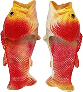 THE LONDON STORE Women's Red EVA Rubber Fish Shaped Flip-Flops Beach Wedges Slippers