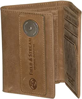 Field & Stream Men's and Women's RFID Blocking 3-Fold Leather Wallet (Tan)