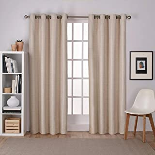 Exclusive Home Curtains Raw Silk Thermal Window Curtain Panel Pair with Grommet Top, 54x84, Taupe, 2 Piece