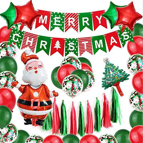 Juego de decoración de globos de Navidad Suite Feliz Navidad Banner Santa Lentejuelas Globo de látex Muñeco de nieve Globo de Navidad Decoración de Fiesta Suminist
