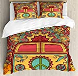 Ambesonne 70s Party Duvet Cover Set, Hippie Vintage Mini Van Ornamental Backdrop with Peace Sign Artwork, Decorative 3 Piece Bedding Set with 2 Pillow Shams, King Size, Coral Orange