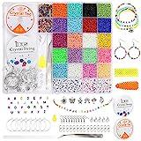 Getervb 7527Pcs 3mm Perlas de Vidrio Colores Cuentas Abalorios Letras Cuenta Semillas con Anillos de Salto Hilo Abalorios Elastico Encanto para Collares Pulseras Fabricación de Joyas Bricolaje