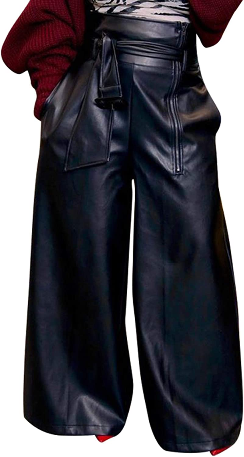 LETSVDO Women Casual High Waisted Belted PU Wide Legs Pants Faux Leather Pant with Pockets