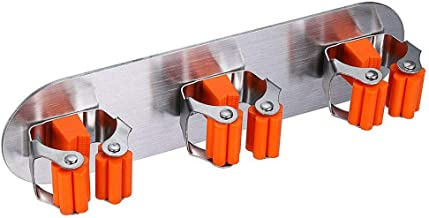 DORLIONA 1X(mop Broom Bracket Storage Bag, self-Adhesive Wall-Mounted mop Hook broomW2T6)