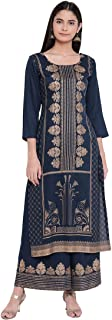 BI AMMA RAYON PRINTED STRAIGHT FIT KURTA AND FLARED PRINTED PALAZZO SET