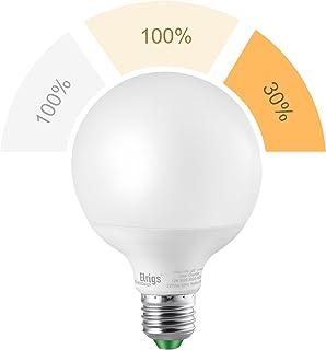 Bombilla de luz LED G95 E27 de 3 configuraciones Elrigs, 12W(6000K)-12W(3000K)-3W(3000K), 220 voltios, No se necesita regulador, 100W equivalente, 1100/1100/260-Lumen, 9,5x9,5x13.8cm