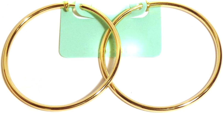 Clip on Earrings Gold Tone Hoop Earrings Hypoallergenic 2.25 Inch