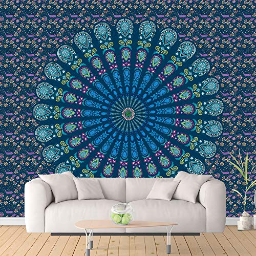 ShenHO Indian Mandala Hanging Colgante de Pared, Hippy Hippy Tapestries - Picnic Beach Sheet, Mantel, Colgante Decorativo de Pared (Blue, 150x200cm)