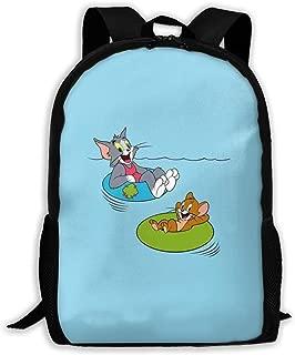 Casual Backpack- Stylish Cute Tom And Jerry Print Zipper School Bag Travel Daypack Backpack