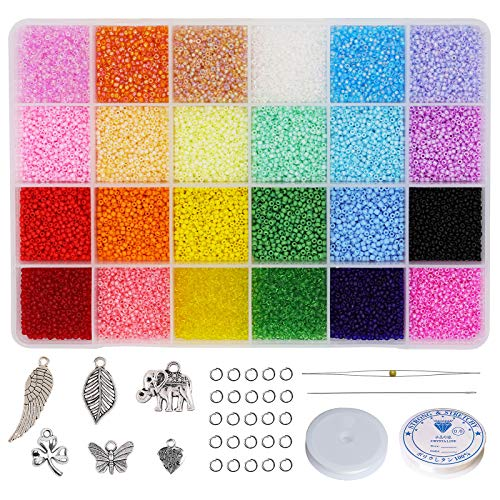 Bala&Fillic 12/0 Glass Seed Beads with Needles,String, Charms,Jump Rings, About 24000pcs in Box Multicolor Assortment Craft Seed Beads for Jewelry Making (1000pcs/Color, 24 Colors)