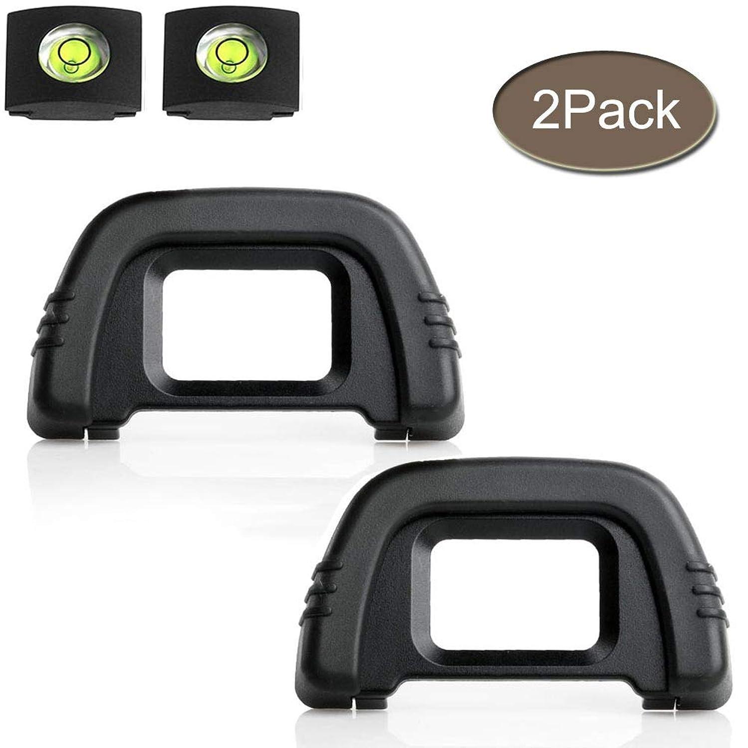 D90 D7000 Eyepiece Eyecup Viewfinder Eye Cup DK-21 Compatible for Nikon D750 D610 D600 D300 D200 D80 D70 D50 Camera, ULBTER Eyepiece Cover & Bubble Spirit Level Hot Shoe Cover -(2+2 Pack)