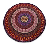 Sophia-Art Mandala Tapiz de Tiro de Playa Redondo Hippy Boho Mantel de algodón Gitano Flor de Loto Algodón Redondo Toalla de Playa al Aire Libre Roundie (Six Work Mandala)