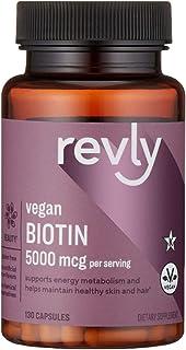 Amazon Brand - Revly Vegan Biotin 5000 mcg - Hair, Skin, Nails - 130 Capsules (4 Month Supply)