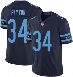メンズラガーシャツ, メンズラグビージャージアメリカフットボールシャツ PAYTON背番号34 Rugby Jerseyラグビージャージーメンズチーフ,アメリカンフットボール大人メンズトレーニング半袖メッシュTシャツ (Color : 海軍, ...