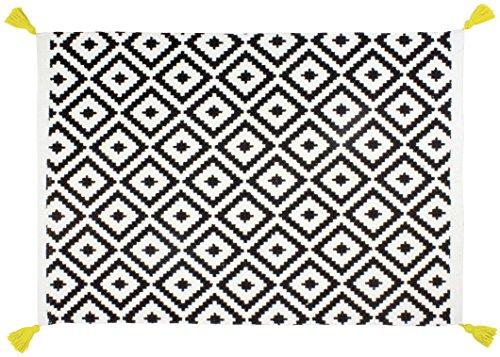 Gelco Design 710522 Tapis de Bain, Coton, Blanc/Noir, 80 x 50 x 0,4cm
