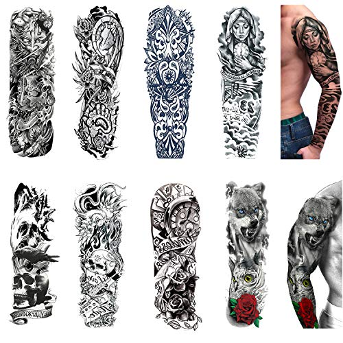 Temporary Tattoos 8 Sheets,Black Full Arm Tattoo Body Stickers for Men Women Adults Kids
